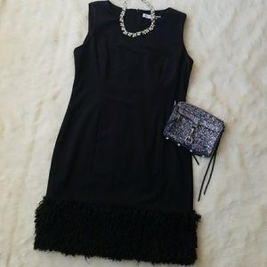 Calvin Klein Faux Fur Trim Dress